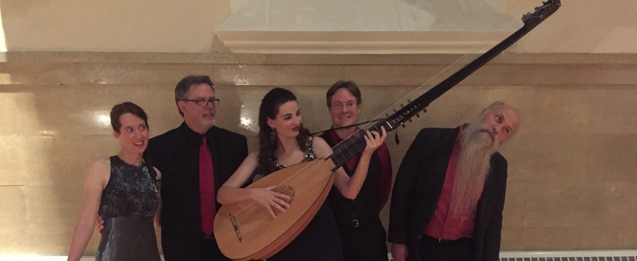 Quirky photo of Janna, Phil, Nerea (with theorbo), Joe and Dick