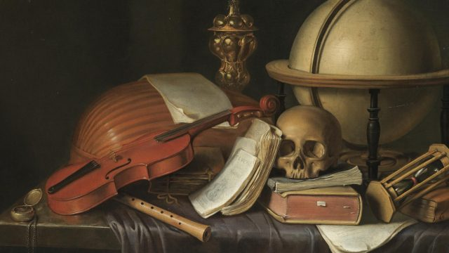 C. Nickel: A VANITAS STILL LIFE WITH A SKULL, A GLOBE, AN HOUR GLASS, BOOKS, MUSICAL INSTRUMENTS AND A COMPASS, ALL ARRANGED OVER A PARTLY DRAPED TABLE